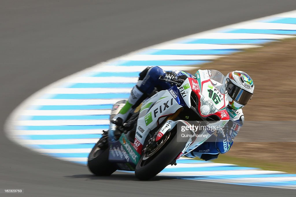 Jules Cluzel of France riding the #16 Fixi Crescent Suzuki during Qualifying practice ahead of the World Superbikes at Phillip Island Grand Prix Circuit on February 22, 2013 in Phillip Island, Australia.