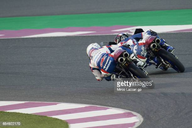 Jules Danilo of France and Marinelli Rivacold Snipers Team and Romano Fenati of Italy and Marinelli Rivacold Snipers Team round the bend during Moto2...