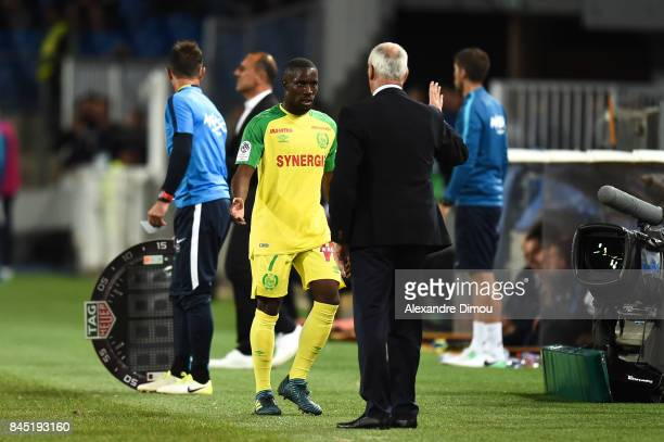 Jules Iloki and Claudio Ranieri Coach of Nantes during the Ligue 1 match between Montpellier Herault SC and Nantes at Stade de la Mosson on September...