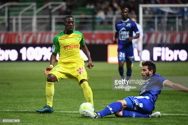 Jules Iloki of Nantes and Mathieu Deplagne of Troyes during the Ligue 1 match between Troyes Estac and FC Nantes at Stade de l'Aube on August 19 2017...