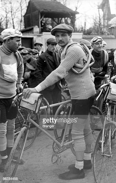 Jules Masselis Belgian racing cyclist at the start of the racing ParisRoubaix March 23 1913
