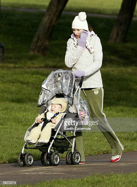 Jules Oliver wife of 'The Naked Chef' Jamie Oliver takes a walk with her daughter Daisy Boo on Primrose Hill on January 28 2004 in London