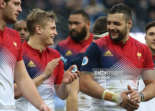 Jules Plisson and Damien Chouly of France thank the supporters following the RBS 6 Nations match between France and Italy at Stade de France on...