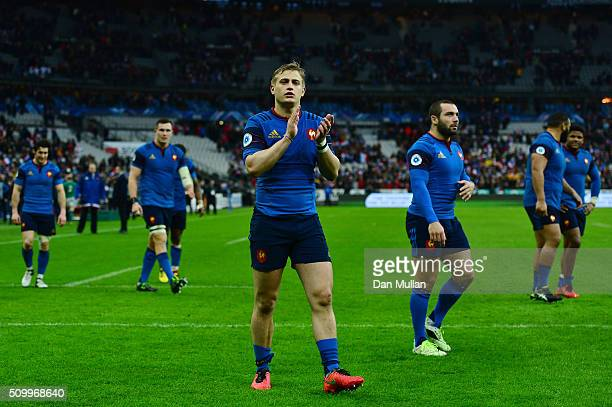 Jules Plisson of France and teammates applaud the fans following their victory during the RBS Six Nations match between France and Ireland at the...