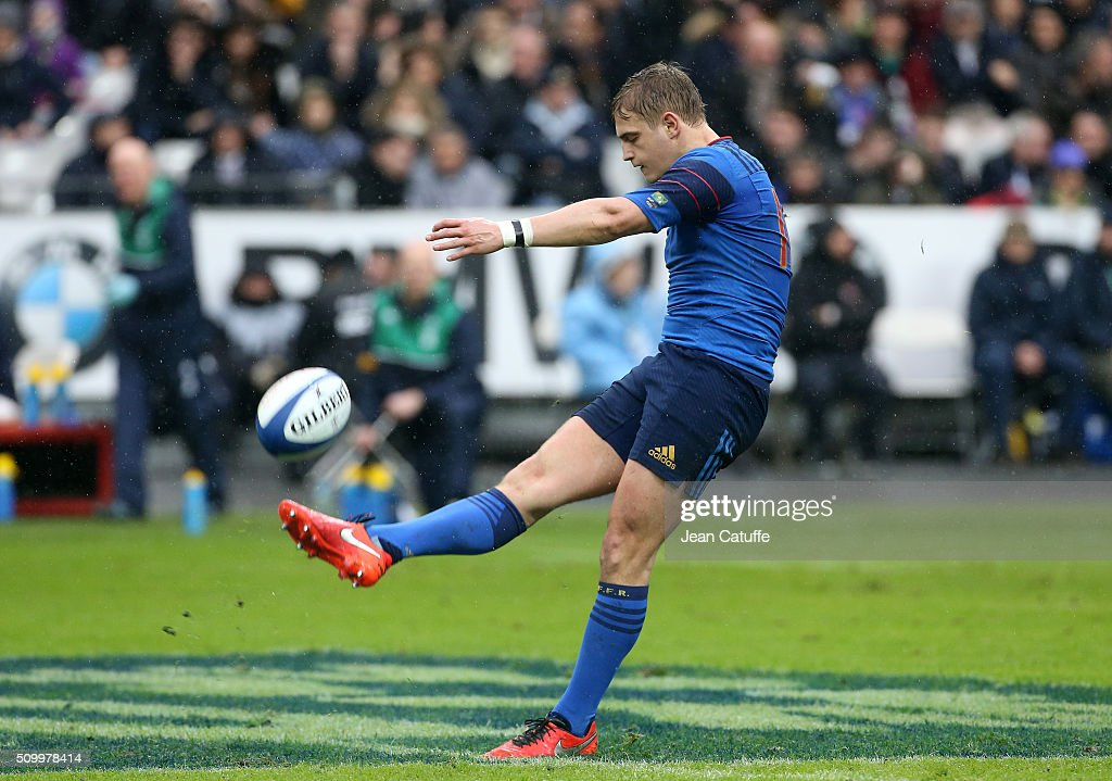 <a gi-track='captionPersonalityLinkClicked' href=/galleries/search?phrase=Jules+Plisson&family=editorial&specificpeople=7551481 ng-click='$event.stopPropagation()'>Jules Plisson</a> of France in action during the RBS 6 Nations match between France and Ireland at Stade de France on February 13, 2016 in Saint-Denis nearby Paris, France.