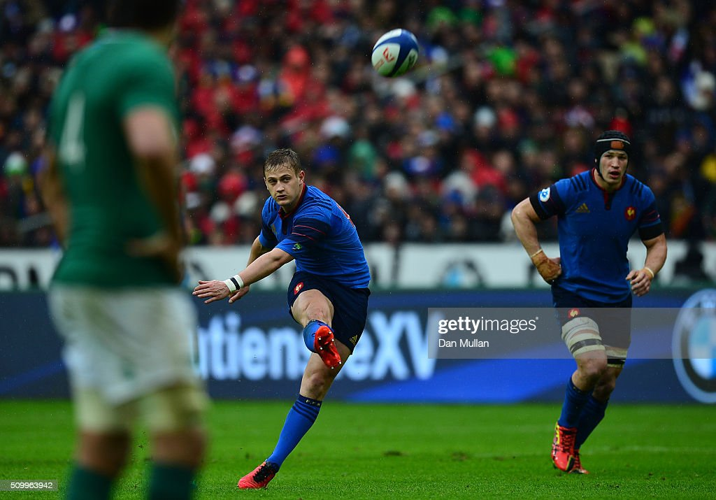 <a gi-track='captionPersonalityLinkClicked' href=/galleries/search?phrase=Jules+Plisson&family=editorial&specificpeople=7551481 ng-click='$event.stopPropagation()'>Jules Plisson</a> of France kicks a penalty during the RBS Six Nations match between France and Ireland at the Stade de France on February 13, 2016 in Paris, France.