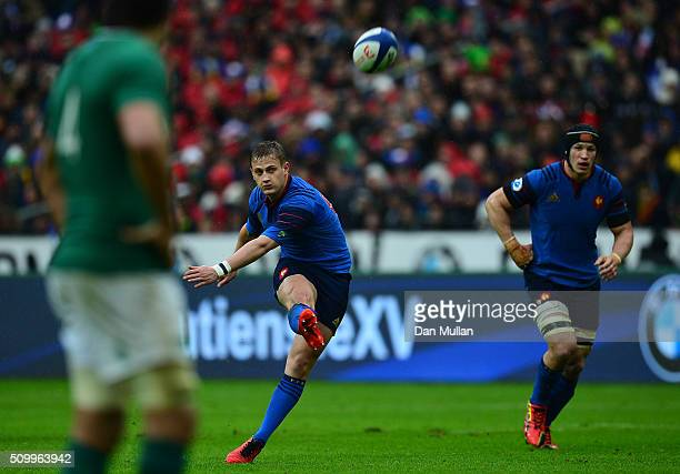 Jules Plisson of France kicks a penalty during the RBS Six Nations match between France and Ireland at the Stade de France on February 13 2016 in...