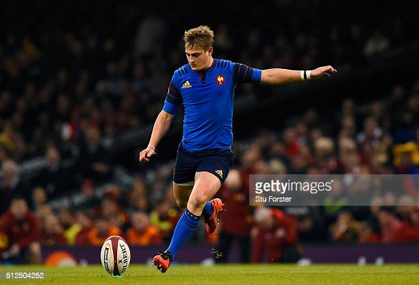 Jules Plisson of France kicks a penalty during the RBS Six Nations match between Wales and France at the Principality Stadium on February 26 2016 in...