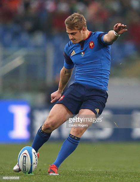 Jules Plisson of France kicks a penalty during the Six Nations match between Italy and France at the Stadio Olimpico on March 15 2015 in Rome Italy