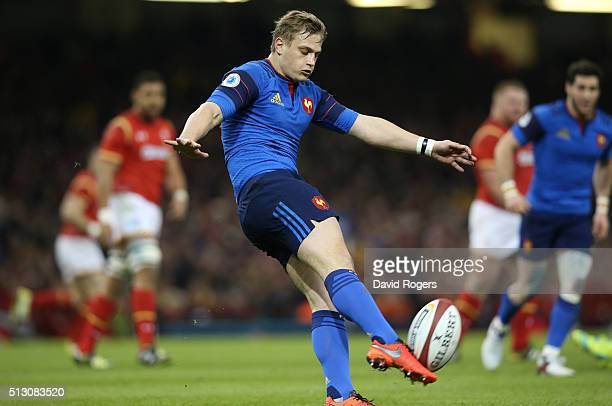 Jules Plisson of France kicks the ball upfield during the RBS Six Nations match between Wales and France at the Principality Stadium on February 26...