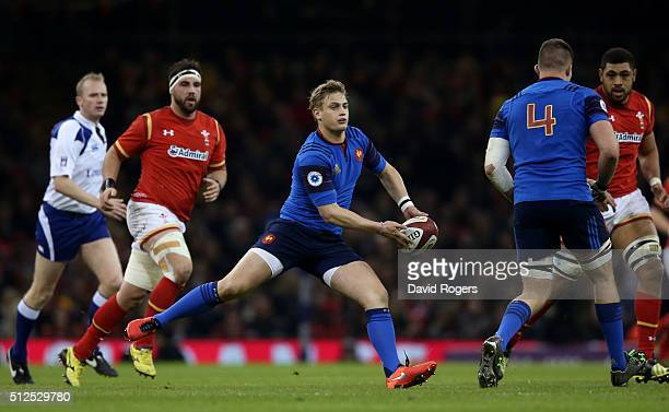Jules Plisson of France passes the ball during the RBS Six Nations match between Wales and France at the Principality Stadium on February 26 2016 in...