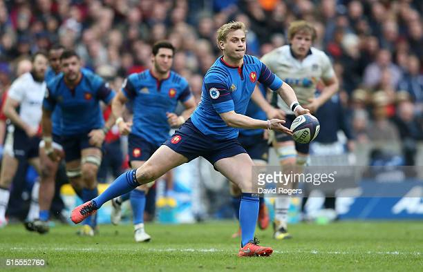 Jules Plisson of France passes the ball during the RBS Six Nations match between Scotland and France at Murrayfield Stadium on March 13 2016 in...