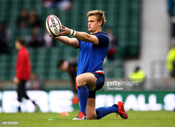 Jules Plisson of France practices his goal kicking prior to kickoff during the RBS Six Nations match between England and France at Twickenham Stadium...