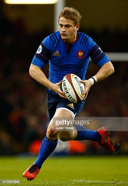 Jules Plisson of France runs with the ball during the RBS Six Nations match between Wales and France at the Principality Stadium on February 26 2016...