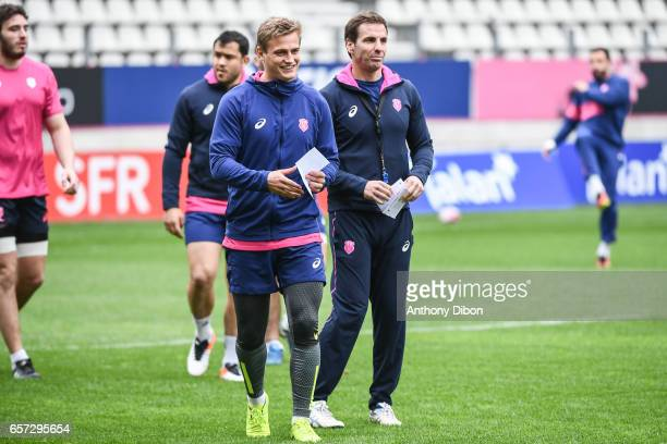 Jules Plisson of Stade Francais and Gonzalo Quesada head coach of Stade Francais during the training session of the Stade Francais at Stade Jean...