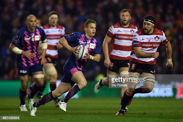 Jules Plisson of Stade Francais makes a break during the European Rugby Challenge Cup Final between Gloucester and Stade Francais at Murrayfield...