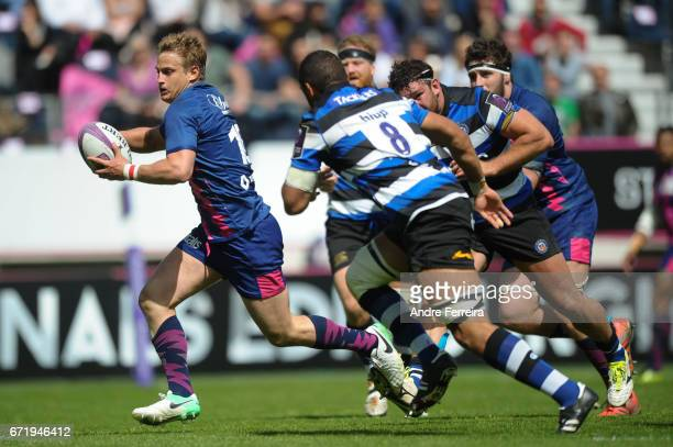 Jules Plisson of Stade Francais scores his try during the European Challenge Cup semi final between Stade Francais and Bath on April 23 2017 in Paris...