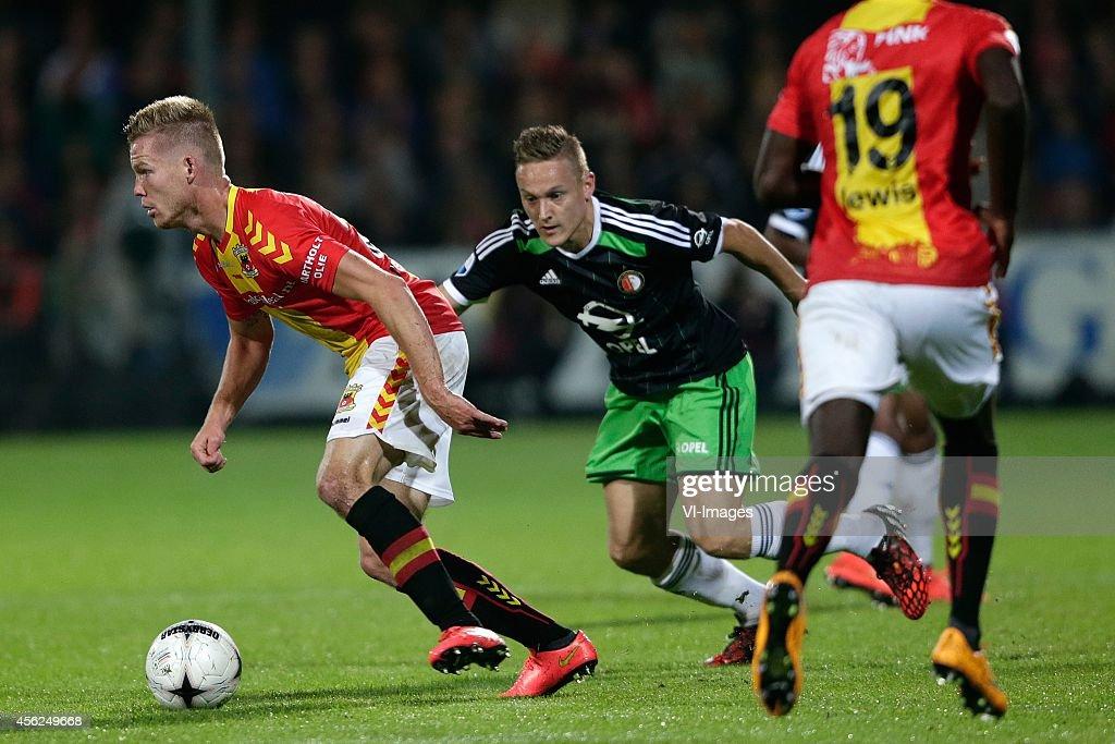 Jules Reimerink of Go Ahead Eagles Jens Toornstra of Feyenoord during the Dutch Eredivisie match between Go Ahead Eagles and Feyenoord at The...