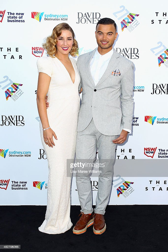 Jules Sebastian and Guy Sebastian arrive at the 27th Annual ARIA Awards 2013 at the Star on December 1, 2013 in Sydney, Australia.