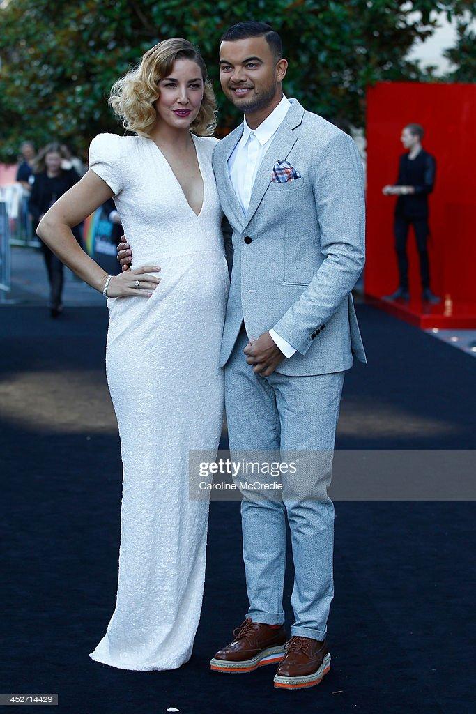 Jules Sebastian and Guy Sebastian arrive at the 27th Annual ARIA Awards 2013 at the Star on December 1, 2013 in Sydney, Australia.