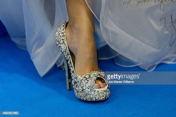 Jules Sebastian shoe detail attends the Australian premiere of Disney's Cinderella at the State Theatre on March 15 2015 in Sydney Australia