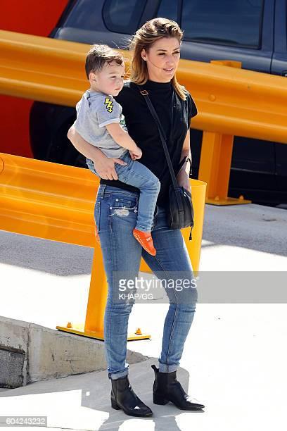 Jules Sebastian with son Archer leaving Sky Zone on September 10 2016 in Sydney Australia