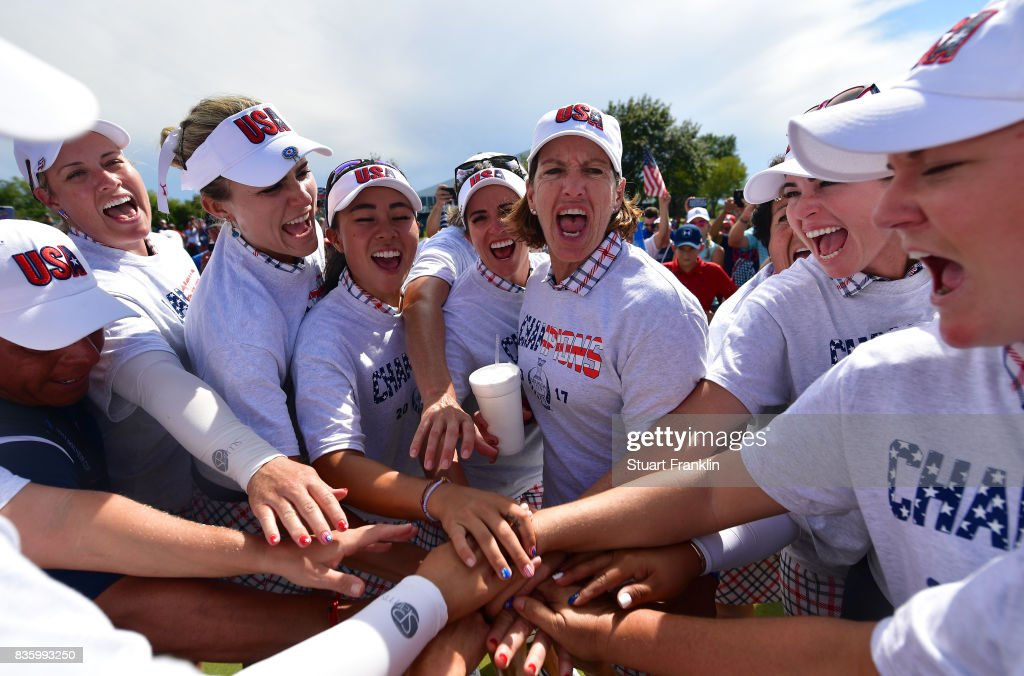 Juli Inkster, Captain of Team USA leads her team's celebrateion during the final day singles matches of The Solheim Cup at Des Moines Golf and Country Club on August 20, 2017 in West Des Moines, Iowa.