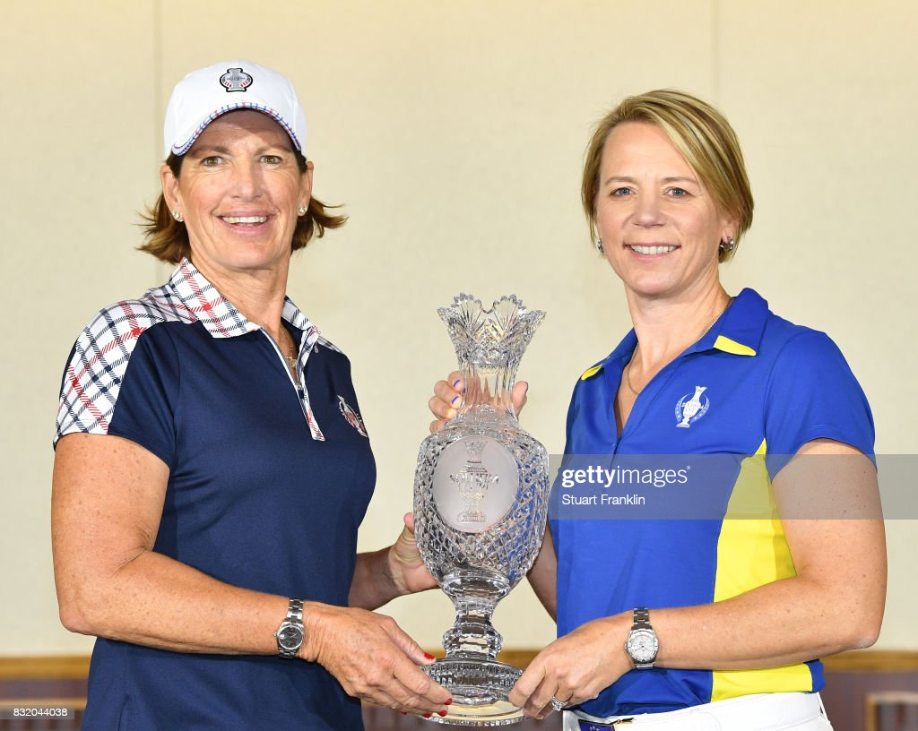 Juli Inkster, Team USA Captain and Annika Sorenstam, European Team Captain pose for a picture during the photocall prior to The Solheim Cup at the Des Moines Country Club on August 15, 2017 in West Des Moines, Iowa.