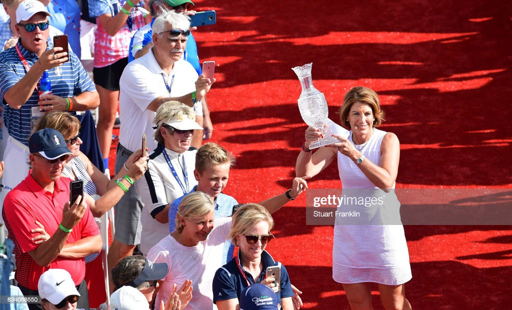 Juli Inkster, Team USA Captain holds the Solheim Cup trophy during the opening ceremony prior to the start of The Solheim Cup at Des Moines Golf and Country Club on August 17, 2017 in West Des Moines, Iowa.