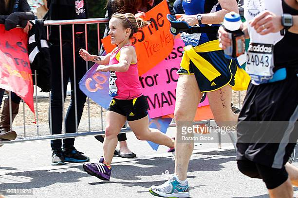 Juli Windsor ran by Wellesley College The 117th Annual Boston Marathon makes its way by Wellesley College on Route 135 in Wellesley Mass on Monday...