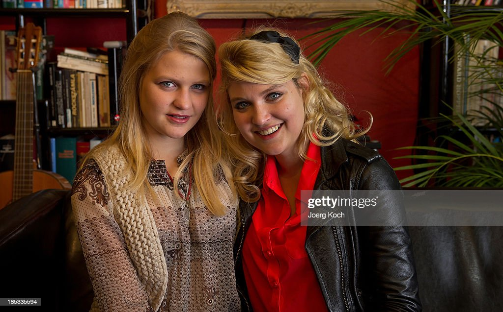 Julia (l) and Lara Mandoki, daughters of musician Leslie Mandoki, pose during a get-together for the launch of Mandokis new Album 'BudaBest' on October 18, 2013 in the Red Rock Studios in Tutzing near Munich, Germany. Mandoki recorded the new album in Budapest featuring Jack Bruce (Cream), Bobby Kimball (Toto), Chris Thompson (former Manfred Mann`s Earth Band), John Helliwell (Supertramp) and Peter Maffay.