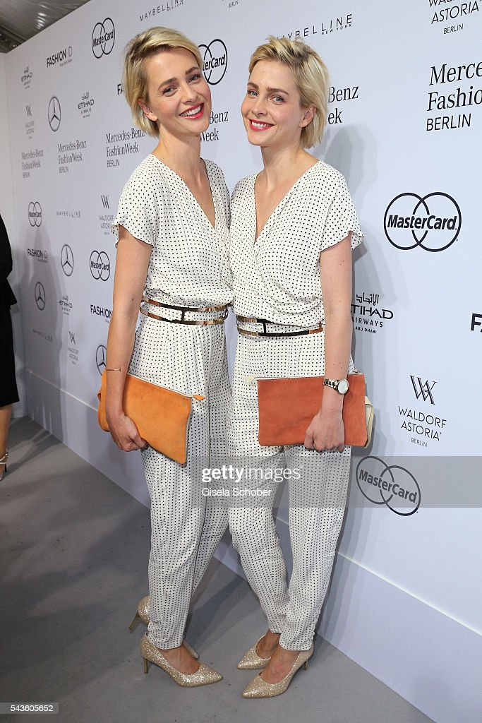 Julia and Nina Meise attend the Minx by Eva Lutz show during the MercedesBenz Fashion Week Berlin Spring/Summer 2017 at Erika Hess Eisstadion on June...