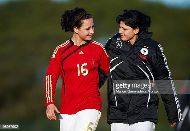 Julia Arnold and Sylvia Arnold of Germany embrace after the Women's international friendly match between Germany and England on February 22 2010 in...