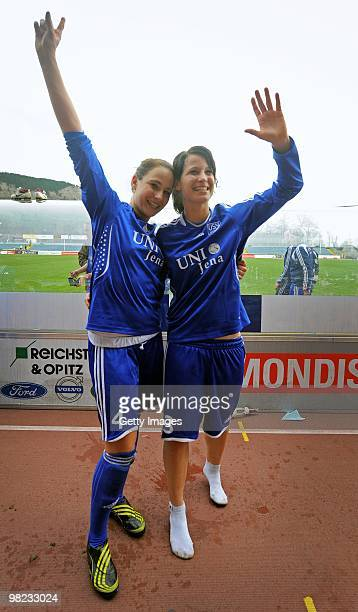 Julia Arnold and Sylvia Arnold of Jena celebrates the victory after the DFB women's cup half final match between FF USV Jena and SG EssenSchoenebeck...