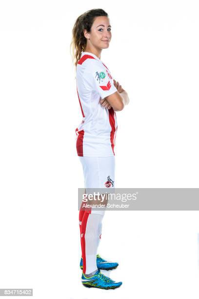 Julia Arnold of 1 FC Koeln poses during the Allianz Frauen Bundesliga Club Tour at on August 16 2017 in Cologne Germany
