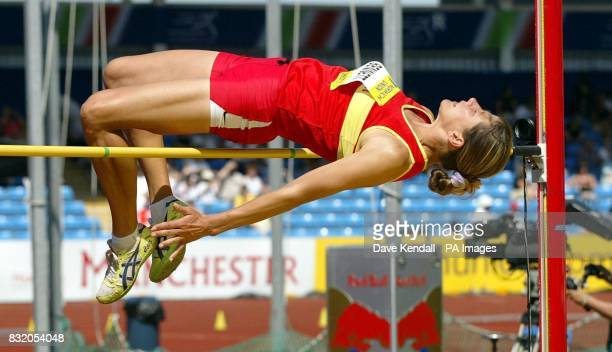 Julia Bennett clears the bar in the Womens High Jump Final during the Norwich Union European Trials and AAA Championships in Manchester