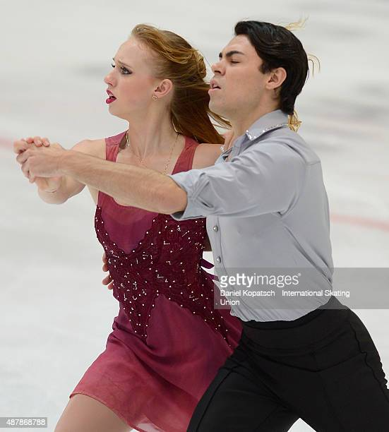 Julia Biechler and Damian Dodge of the United States skate during the junior ice dance free dance on day three of the ISU Junior Grand Prix of figure...