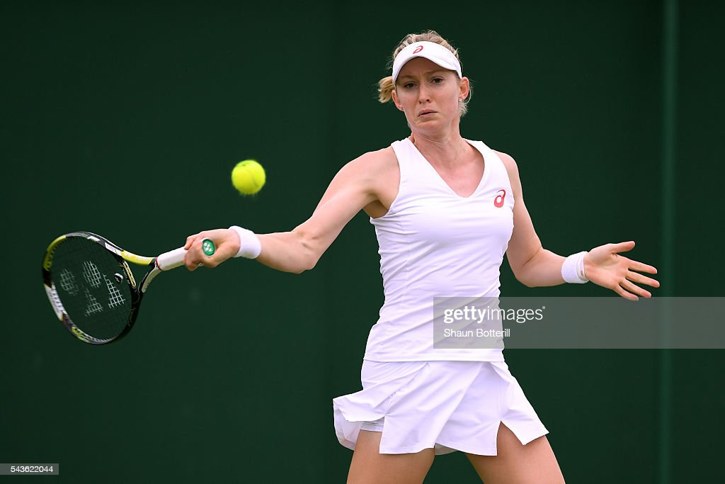 Julia Boserup of the United States plays a forehand during the Ladies Singles first round match against Tatjana Maria of Germany on day three of the Wimbledon Lawn Tennis Championships at the All England Lawn Tennis and Croquet Club on June 29, 2016 in London, England.