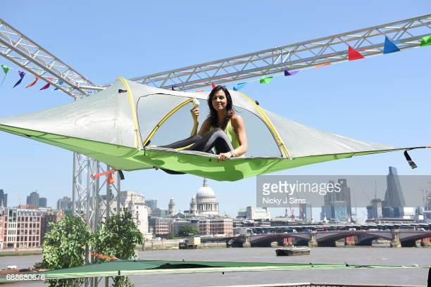 Julia Bradbury scorches on the Southbank to kick start National Camping and Caravanning Week on London's South Bank on May 26 2017 in London England