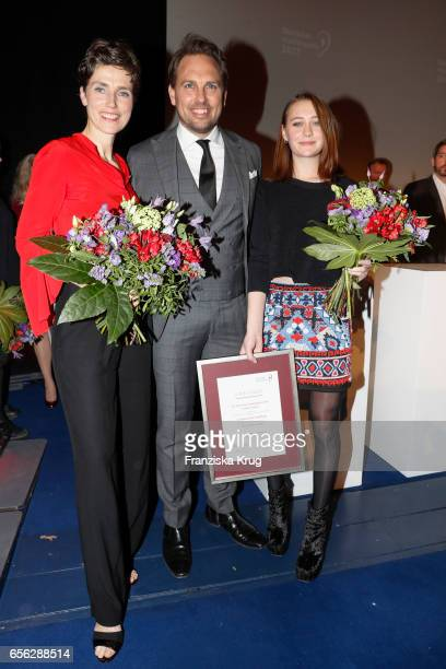 Julia Bremermann Nicole Mercedes Muller and Steven Gaetjen attend the Deutscher Hoerfilmpreis at Kino International on March 21 2017 in Berlin Germany