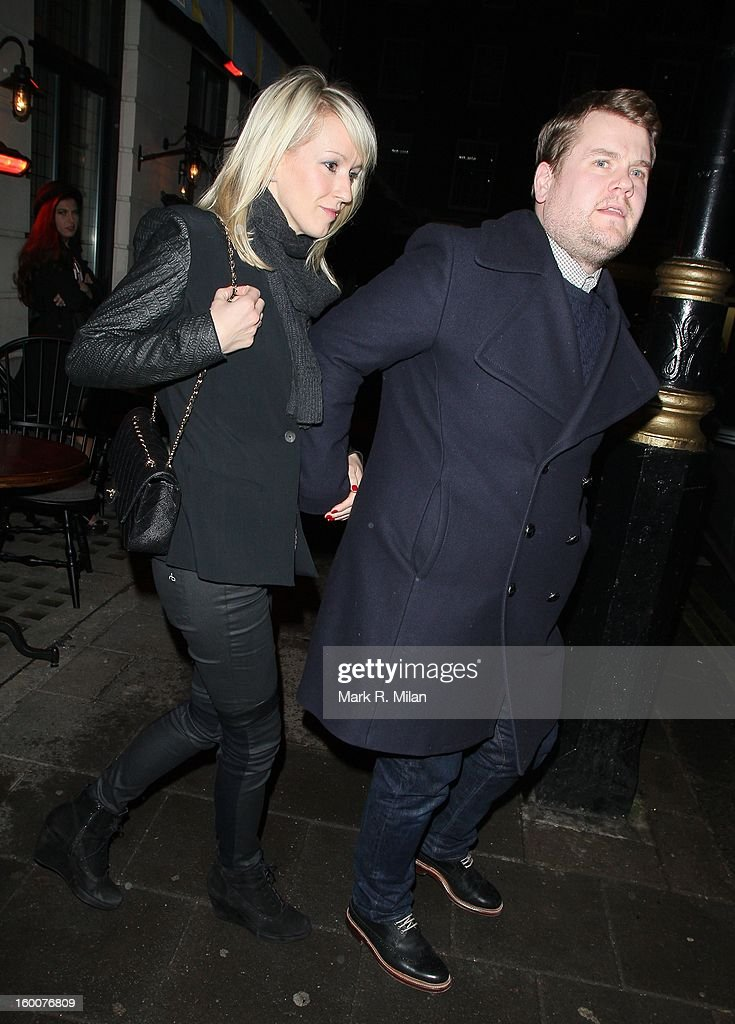 Julia Carey and <a gi-track='captionPersonalityLinkClicked' href=/galleries/search?phrase=James+Corden&family=editorial&specificpeople=673860 ng-click='$event.stopPropagation()'>James Corden</a> at the Little House Mayfair on January 25, 2013 in London, England.