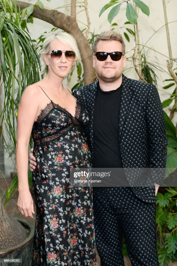 Julia Carey (L) and James Corden attend CFDA/Vogue Fashion Fund Show and Tea at Chateau Marmont at Chateau Marmont on October 25, 2017 in Los Angeles, California.