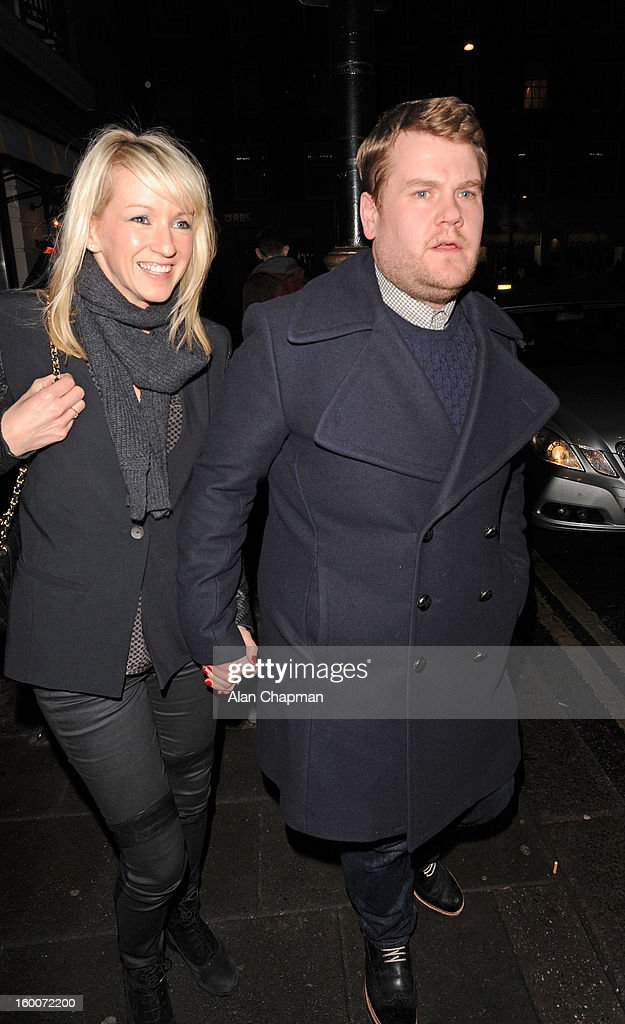 Julia Carey and <a gi-track='captionPersonalityLinkClicked' href=/galleries/search?phrase=James+Corden&family=editorial&specificpeople=673860 ng-click='$event.stopPropagation()'>James Corden</a> sighting in Mayfair on January 25, 2013 in London, England.