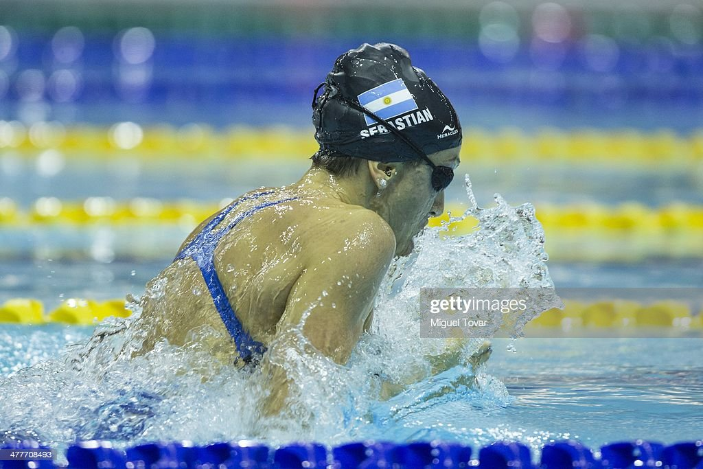 Julia Cebastian of Argentina competes in womens 100m breaststroke final event during day four of the X South American Games Santiago 2014 at Centro Acuatico Estadio Nacional on March 10, 2014 in Santiago, Chile.