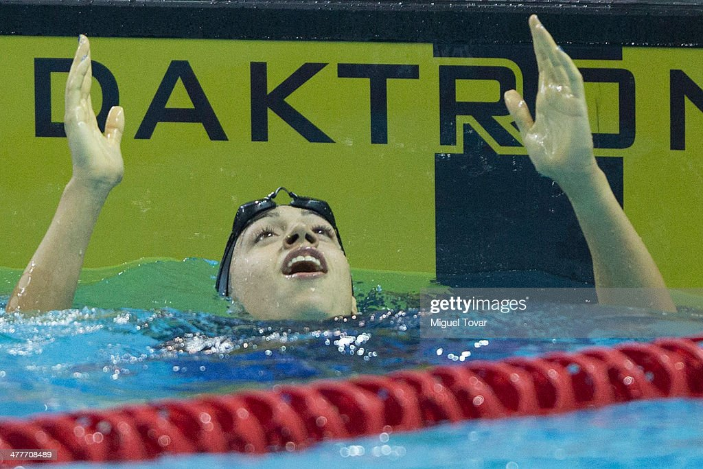 Julia Cebastian of Argentina reacts after winning in womens 100m breaststroke final event during day four of the X South American Games Santiago 2014 at Centro Acuatico Estadio Nacional on March 10, 2014 in Santiago, Chile.