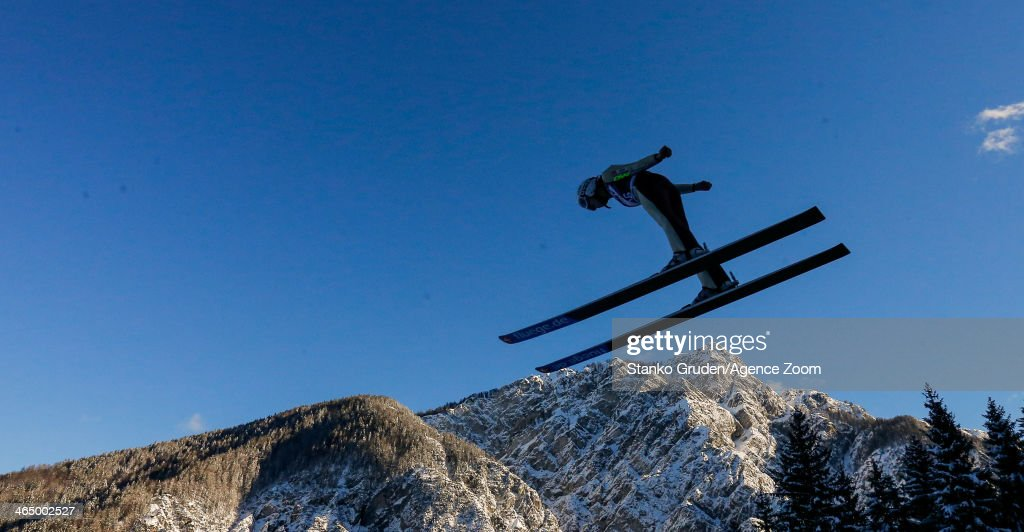 Julia Clair of France competes during the FIS Ski Jumping World Cup Women's HS95 on January 25, 2014 in Planica, Slovenia.