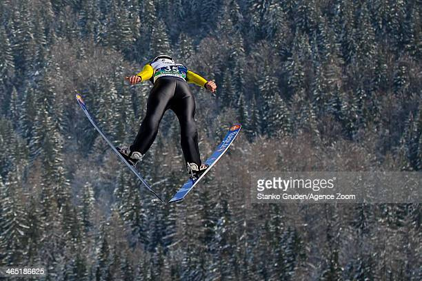 Julia Clair of France competes during the FIS Ski Jumping World Cup Women's HS95 on January 26 2014 in Planica Slovenia