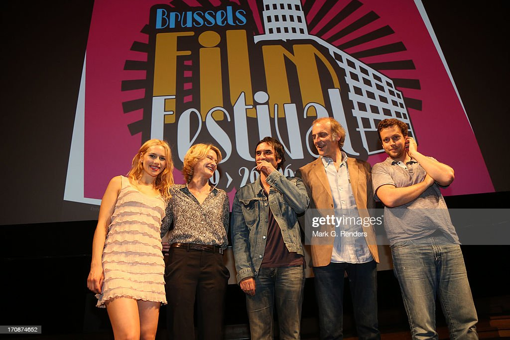 Julia Dietze Astrid Whettnall Samuel Benchetrit and Sam Louwyck and Joachim Lafosse attend the Brussels Film Festival 2013 Opening Night at Flagey on...