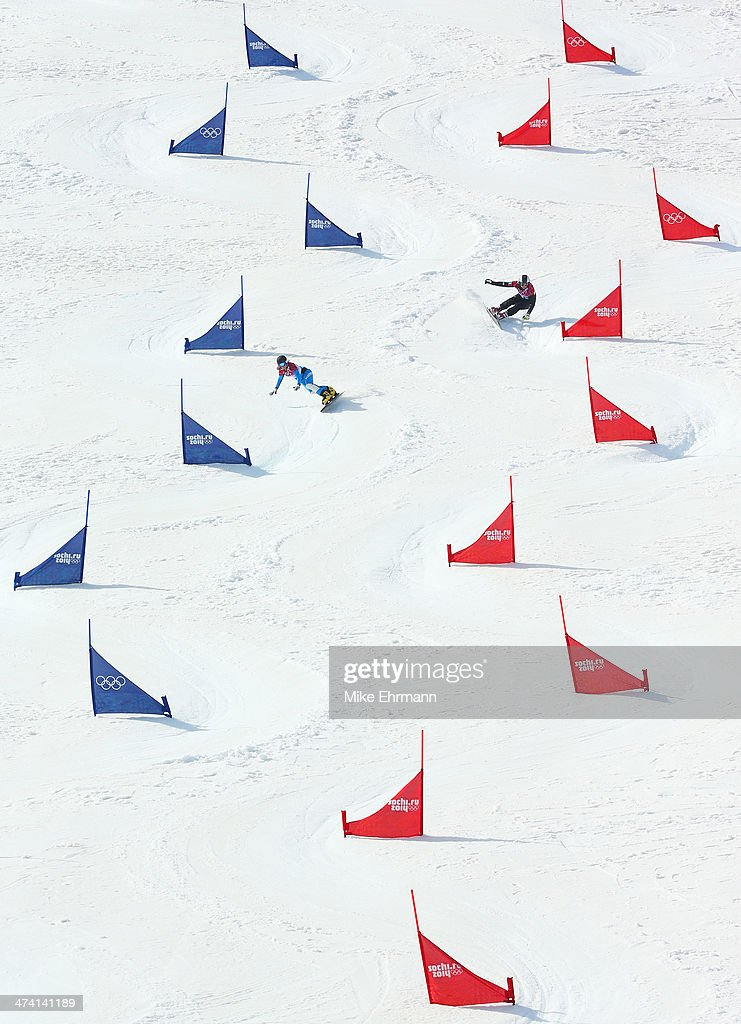 Julia Dujmovits of Austria competes in the Snowboard Ladies' Parallel Slalom Semifinals on day 15 of the 2014 Winter Olympics at Rosa Khutor Extreme Park on February 22, 2014 in Sochi, Russia.