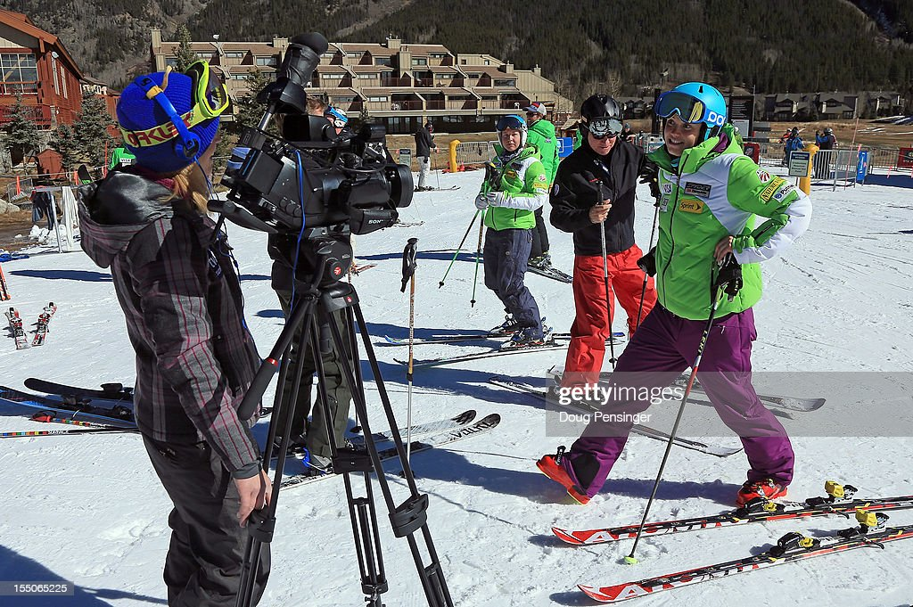 Julia Ford (R) of the US Ski Team is interviewed by the media during a tour of the US Ski Team Speed Center at Copper on October 31, 2012 in Copper Mountain, Colorado. The athletes will begin training at the facility on November 1, 2012.